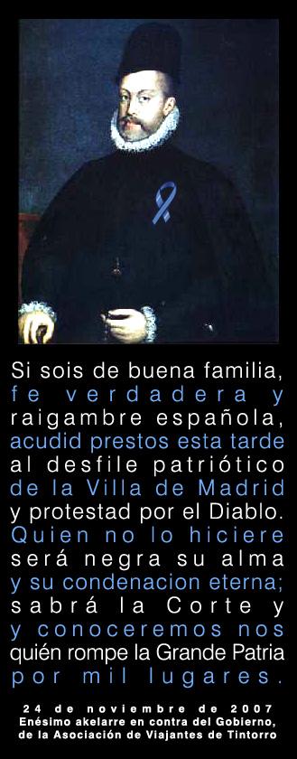 Cartel con el Felipe II de Coello con lazo azul y edicto proclamando asistencia a la manifestación contra el gobierno de AVT